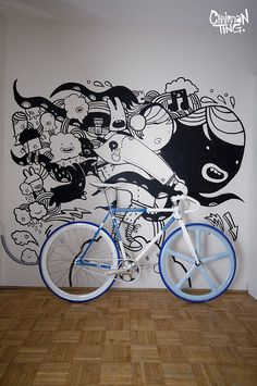 Custom built adidas fixie for our adidas x Forces of Nice art show collaboration in Hong Kong. The custom paint and illustration on the bike was done all by hand… Fixi Bike, Fixed Gear Bicycle, Bicycle Art, Bicycle Shop, Velo Design, Bicycle Design, Tatoo Bike, Bici Fixed, Vw Minibus