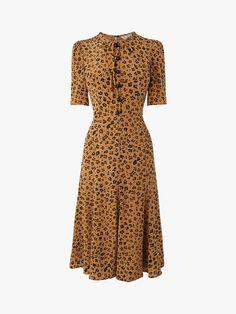 6409403d2aa76b Plus jurk met plooidetail en panterprint oker