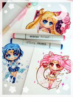 Chibis I've done recently~ Sailor Mercury, Super Sailor Chibimoon and Princess Serenity~ #fanart