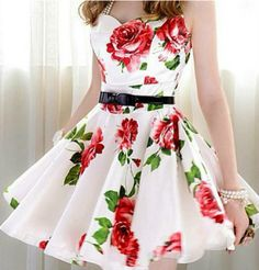 pleated dress with pretty rose fabric