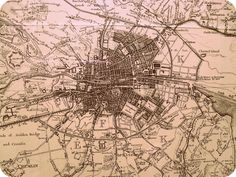 Old Dublin, Ireland map from the 1800s