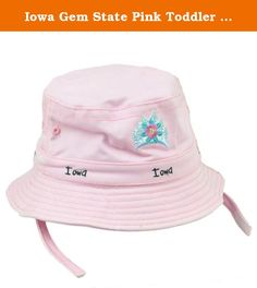 Iowa Gem State Pink Toddler Sun Bucket Crusher Hat USA America Crown Princess. This sun bucket hat features city name embroidered on front. Adjustable chin strap. Crown tag stitched attached on side. Authentic Merchandise. Officially Licensed Product.