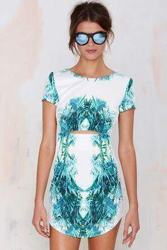 Rise of Dawn Palm Dot Com Cutout Dress