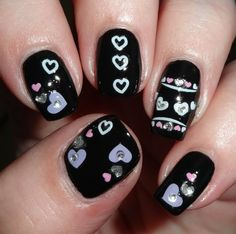 Sparkly Nails - Pastel Hearts Jewel Nail Stickers