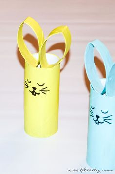 Easter crafts for kids No link but looks straightforward enough. Painted toilet roll tubes assembled in the shape of Easter animals. The post Easter crafts for kids appeared first on Knutselen ideeën. Pot Mason Diy, Mason Jar Crafts, Easter Crafts For Kids, Diy For Kids, Children Crafts, Handmade Crafts, Diy And Crafts, Paper Roll Crafts, Spring Crafts