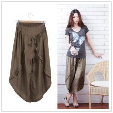 MY6070 Plus Size OL Temperament Casual Skirt Ninth Pants Light Coffee [MY6070] - $16.50 : China,Korean,Japan Fashion clothing wholesale and Dropship online-Be the most beautiful Lady