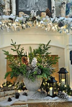 Natural Christmas decorating ideas// Urn, pinecones, twigs, lighted branches, fresh Christmas greens