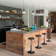 custom industrial kitchen rustic kitchen island with stainless steel worktop dark bar stools modern gray tiles walls rustic open shelves Kitchen Inspirations, Hamptons House, Kitchen Styling, Kitchen, Kitchen Diner, Kitchen Design, Industrial Style Kitchen, Kitchen Remodel, Rustic Kitchen