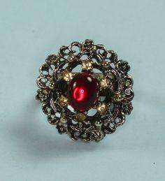Vintage Filigree Ring Red Glass Stone Yellow Rhinestones Adjustable  $16.00