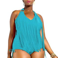 Teenloveme® Women High Waist Bikini Sets Plus Size Swimwear Tankini Fringe Tops Tassel One-piece Swimsuit (3XL, 066Light Blue) Teenloveme http://www.amazon.co.uk/dp/B00ZKJD30U/ref=cm_sw_r_pi_dp_BMldxb0TCCVS9