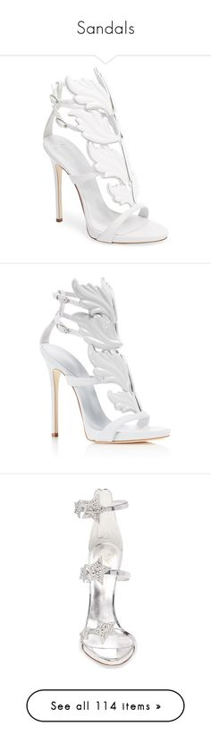 """""""Sandals"""" by mari-sv ❤ liked on Polyvore featuring shoes, sandals, heels, white, stilettos shoes, stiletto sandals, wing shoes, heels stilettos, giuseppe zanotti shoes and footwear"""