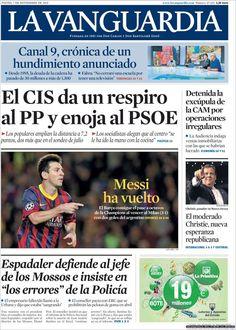 Los Titulares y Portadas de Noticias Destacadas Españolas del 7 de Noviembre de 2013 del Diario La Vanguardia ¿Que le pareció esta Portada de este Diario Español?