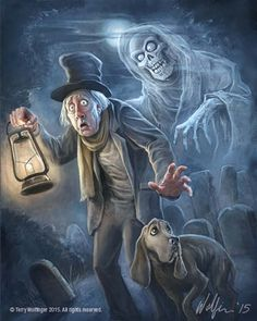 *THE CARETAKER & his dog ~ The Haunted Mansion. Signed by the artist. Disney Halloween, Haunted Mansion Halloween, Halloween Horror, Vintage Halloween, Halloween Kunst, Halloween Artwork, Halloween Drawings, Halloween Pictures, Halloween Facts