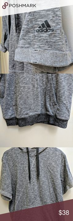 ⭐NEVER WORN⭐ Adidas Gray Short Sleeve Hoodie Never worn! Adidas men's basketball short sleeve hoodie. Heather gray with darker grey bottom band and hoodie strings. Cross chest hem with Adidas logo on sleeve. adidas Shirts Sweatshirts & Hoodies