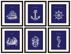 Need to remember this when I re-do my bathroom. Nautical Red and Blue Bathroom Artwork Sweeeeeet. Nautical Bedroom, Nautical Bathrooms, Modern Bathroom Decor, Bathroom Ideas, Bathroom Interior, Nautical Prints, Nautical Home, Nautical Anchor, Nautical Clocks