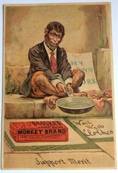Brooke's Monkey Brand scouring Soap insert advert for a book or magazine ( late 19th C)