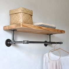 The Portobello industrial clothes shelf is a chunkier upgrade on our classic pipe shelf.This new version offers a larger shelf and a longer rail to pr Wooden Storage Shelves, Laundry Shelves, Large Shelves, Pipe Shelves, Floating Shelves, Clothes Shelves, Clothes Storage, Wood Rack, Hanging Rail