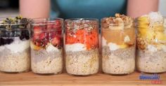Overnight Oatmeal – 5 Delicious Ways! Breakfast Recipes video recipe – The Most Practical and Easy Recipes Overnight Oats Receita, Overnight Oatmeal, Mason Jar Meals, Meals In A Jar, Mason Jars, Oatmeal Recipes, Breakfast Recipes, Brunch Recipes, Chia Breakfast
