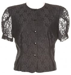 Black Lace Blouse With Puff Sleeves - Vintage clothing from Rokit -