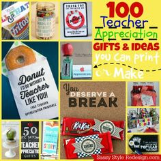 100 Teacher Appreciation Gifts and Ideas that you can print & make!
