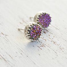 Dainty earrings,purple druzy,druzy earrings,delicate earrings.sterling silver studs,silver druzy,bridesmaids earrings,minimalist earrings by Avnis on Etsy