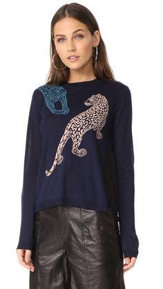 YIGAL AZROUËL Leopard Sweater. #yigalazrouël #cloth #dress #top #shirt #sweater #skirt #beachwear #activewear