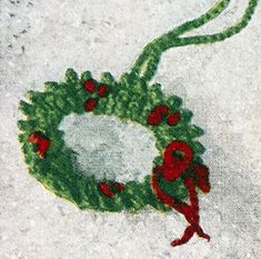 Holly Wreath Curtain Pulls crochet pattern published in Crochet for Christmas, Star Book #94.