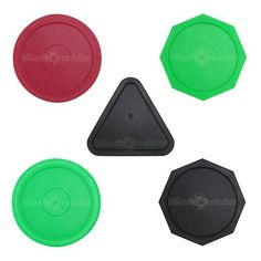"""5 Air Hockey Pucks: 1 Red Round, 3 Octagons: Green, Red, Black, 1 Red Triangle by Billiard Evolution. $6.99. Set of 5 air hockey pucks: 1 red round, 3 octagons: green, red and black, 1 red triangle. The round table hockey puck measures 2-1/2"""" in diameter, and the triangle and octagon pucks are also 2-1/2"""" across at the widest point."""