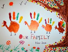 hand prints turkey family thanksgiving art. super cute