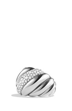 Women's David Yurman 'Hampton Cable' Ring with Diamonds - Diamond