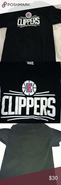 🏀👕 LA Clippers Black T-Shirt LA Clippers Black Logo T-shirt • This is a fantastic looking T-shirt • Brand-GILDAN MENS SIZE : LARGE  **Pleasereview pictures you will receive exact item pictured. Gildan Shirts Tees - Short Sleeve