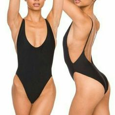 Black padded high waisted low back bathing suit Wonderful black one piece bathing suit with high cut waist and low cut back. This sexy monokini is padded! Brand new and used. Other sizes and colors available in my closet. Swim One Pieces