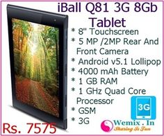 iBall Q81 3G 8Gb Tablet Rs 7575