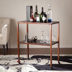 Harper Blvd Samrilla Accent Table Home Office Utility Cart Brown Finish #HarperBlvd