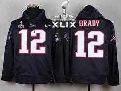 New England Patriots #12 Tom Brady Blue Super Bowl XLIX Pullover Hoodie 2015 Super Bowl XLIX Jersey