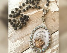 Junk queen - hand stamped vintage flatware necklace - vintage rosary chain - Edit Listing - Etsy