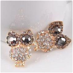 Owl earrings Cute rhinestone crystal owl earrings color gold Jewelry Earrings