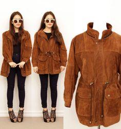 Vintage-Brown-Tan-Suede-Leather-Drawstring-PARKA-Anorak-Utility-Coat-Jacket-10  #leather #leathercoat #suedecoat #jacket #leatherjacket #suedejacket #tanleather #tan #western #cowboy #grunge #vintage #vintagecoat #retrocoat
