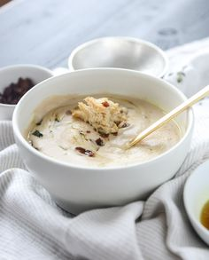 white bean soup with crumbled bacon and spiced brown butter I howsweeteats.com