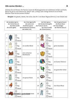 Kleidung und Adjektivdeklination - Partnerübung