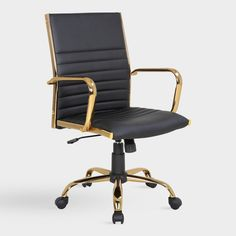 Black and Gold Channel Back Office Chair: Black/Metallic - F.- Black and Gold Channel Back Office Chair: Black/Metallic – Fabric by World Market Blush Elsie Upholstered Office Chair Gold Office Decor, Black Office Chair, Home Office Chairs, Home Office Furniture, Furniture Movers, Modern Office Chairs, High Back Office Chair, Office Seating, Black Furniture
