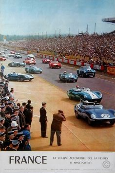 1960 24 Hours of Le Mans Race - Promotional Advertising Poster 24 Hours Le Mans, Le Mans 24, 24h Le Mans, Classic Motors, Classic Cars, Circuit Du Mans, Course Automobile, Racing Events, Car Posters