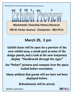 Don't miss the sneak peek of the permanent exhibit area. 3/29, 2 pm