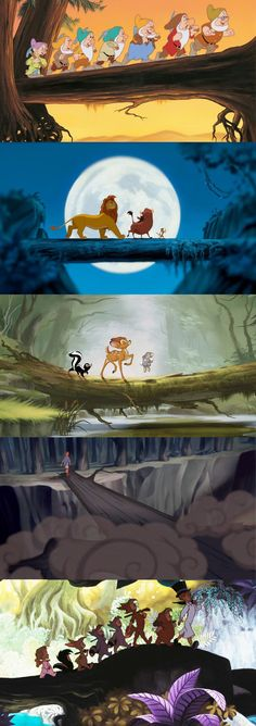 And now a collection of Disney characters walking across fallen trees. <---- the weirdest cliche ever!