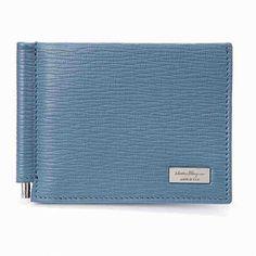 [G228]フェラガモ/SALVATORE FERRAGAMO/66 9971 05/メンズ/二つ折り財布/マネークリップ/ブルー系