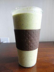 green monster smoothie  1 cup ice  1 frozen banana  2 handfuls spinach  4 strawberries  1/4 cup frozen plain yogurt  4 tbsp Chocolate PB2