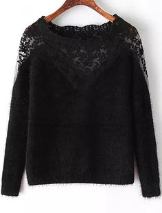 Shop Black Long Sleeve Contrast Lace Mohair Sweater online. Sheinside offers Black Long Sleeve Contrast Lace Mohair Sweater & more to fit your fashionable needs. Free Shipping Worldwide!
