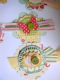 Ribbon Carousel Blog: Using those ribbon scraps to make embellishments. Tutorial from Handmade Creations by Stephanie