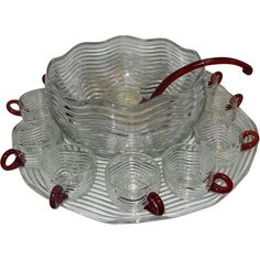Vintage Duncan-Miller Art Deco Caribbean Punch Bowl with Cups and from mygrandmotherhadone on Ruby Lane