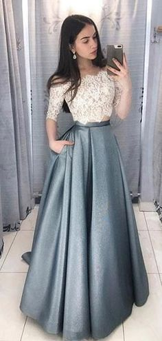 68519d3b458 Two Pieces Half Sleeve Lace Grey Long Evening Prom Dresses